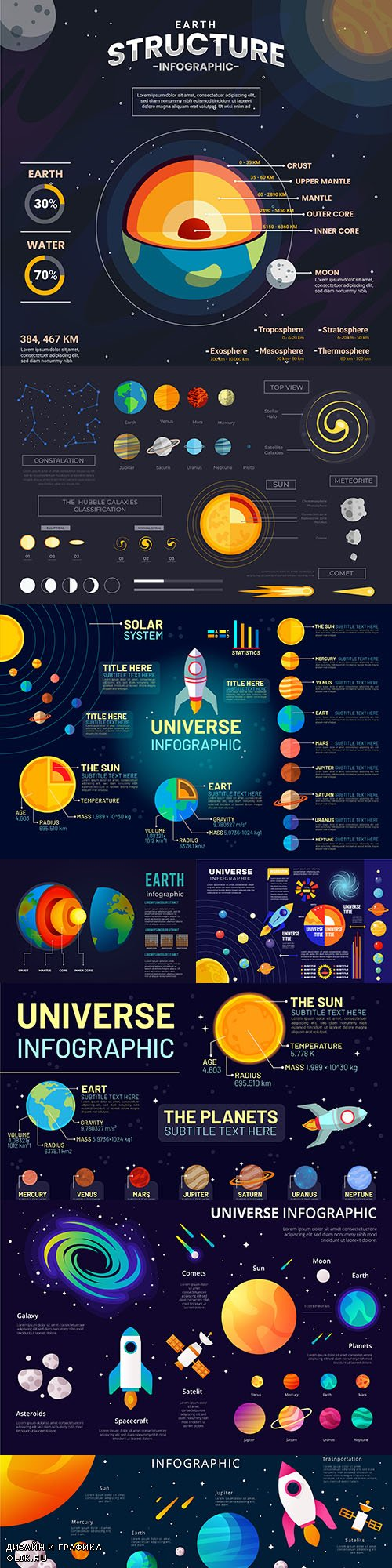Universe of infographics with planets and spaceships