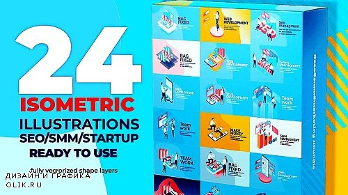 24 Isometric SEO & SMM Illustration Pack 345165 - After Effects Templates