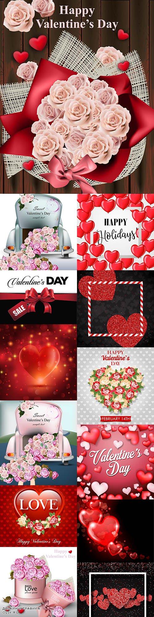 Happy Valentine's Day romantic decorative illustrations 26