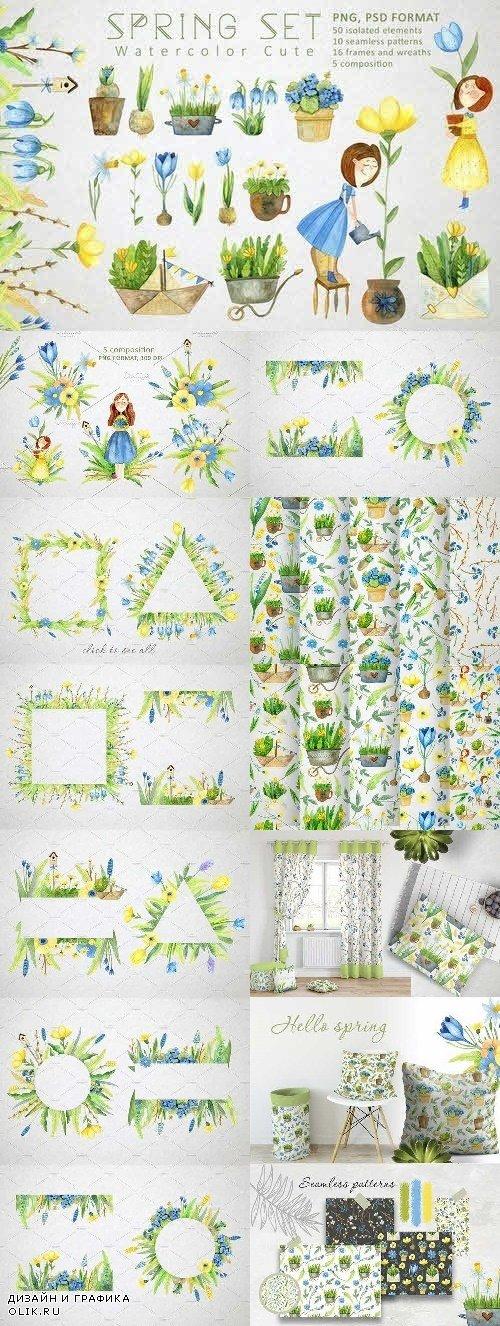 Watercolor Spring Set - 4454903