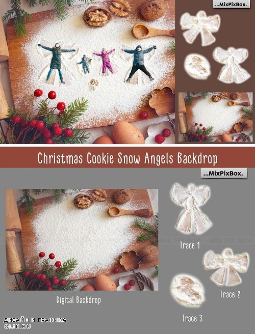 Christmas Cookie Snow Angel Backdrop - 4352522
