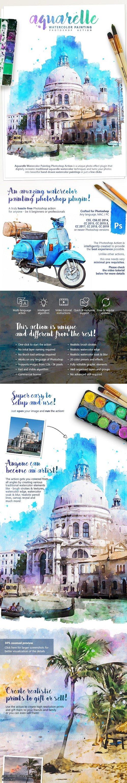 Aquarelle - Watercolor Painting Photoshop Action 25391242