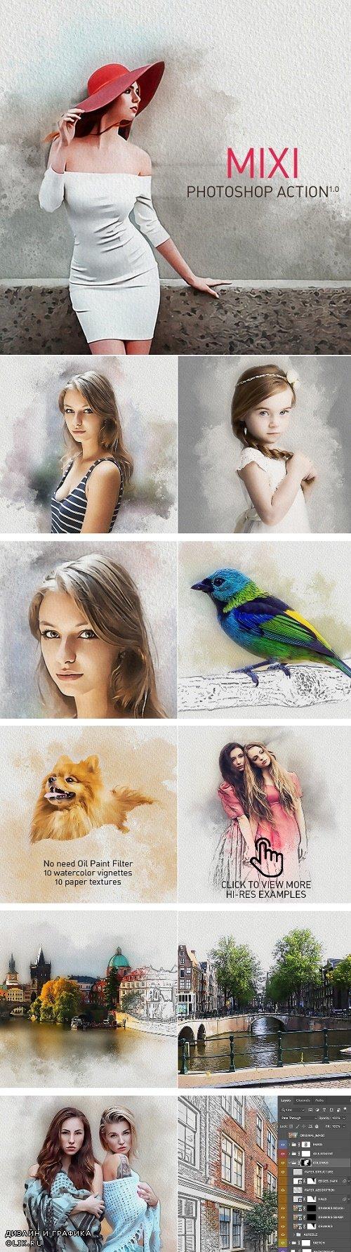 MIXI | Acrylic + Watercolor + Pencil Sketch Photoshop Action - 25312701