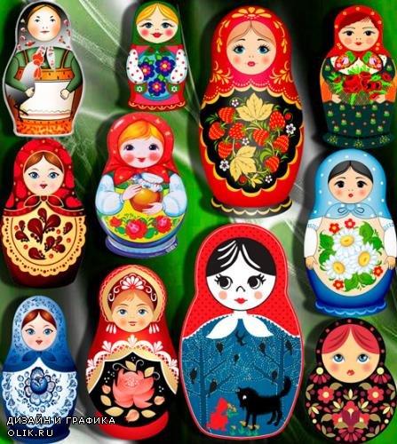Прозрачные картинки для фотошопа - Русские матрешки
