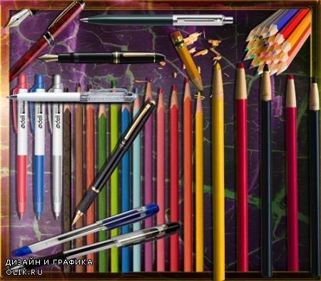 Png прозрачный фон - Цветные карандаши и ручки