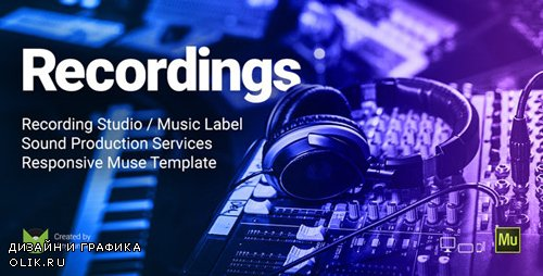 ThemeForest - Recordings v1.0 - Recording Studio / Sound Production / Music Label Responsive Muse Template - 19636226