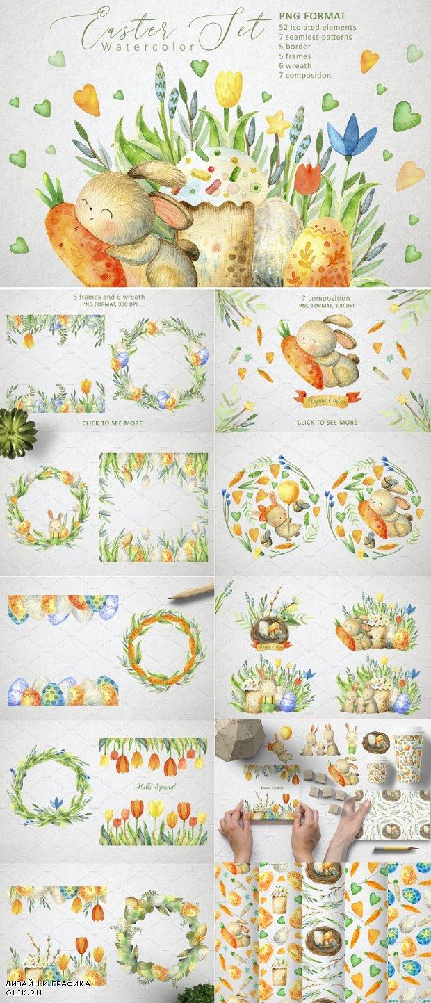 Happy Easter. Watercolor set - 4535237