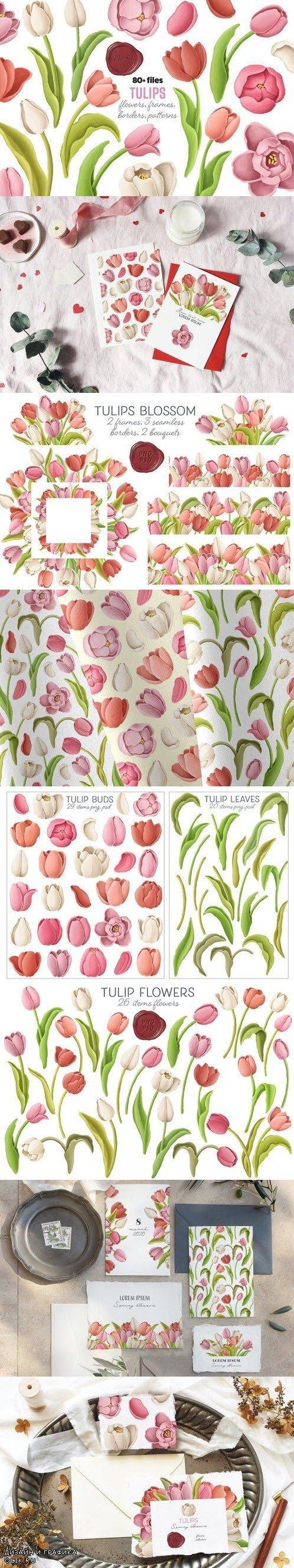 Tulips flowers, patterns, borders - 4440871
