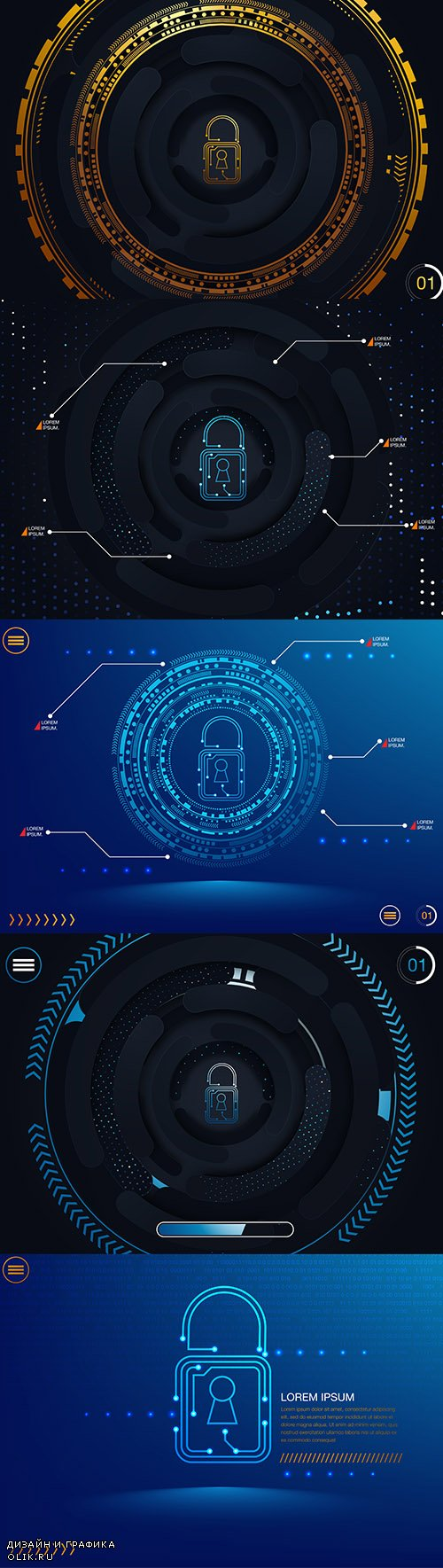 Global Network Security Illustration Vector Set