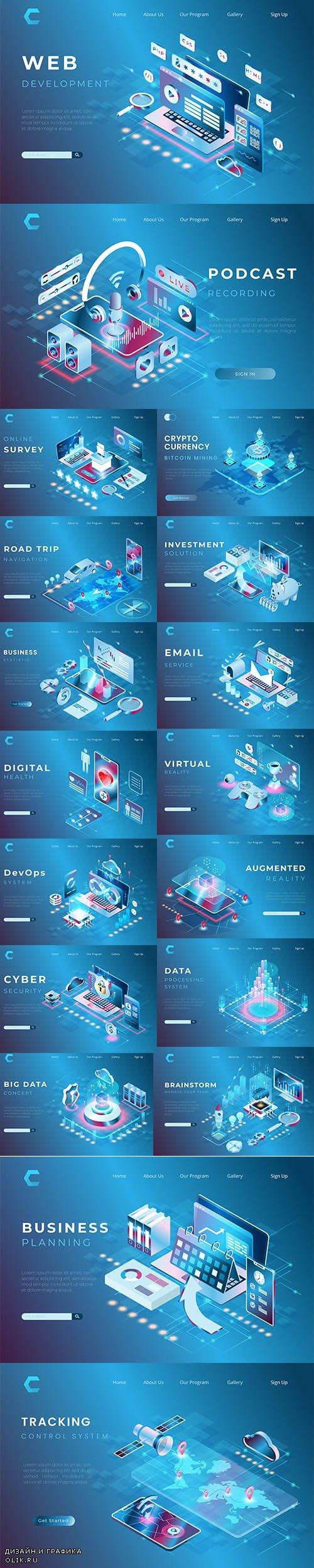 Web Business Concept Premium Illustrations Set