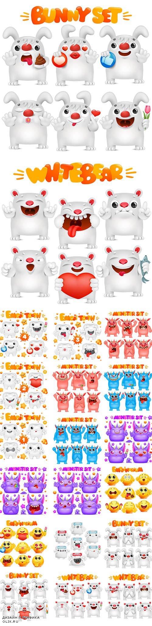 Emoji Cartoon Character Various Emotions Premium Illustrations Set