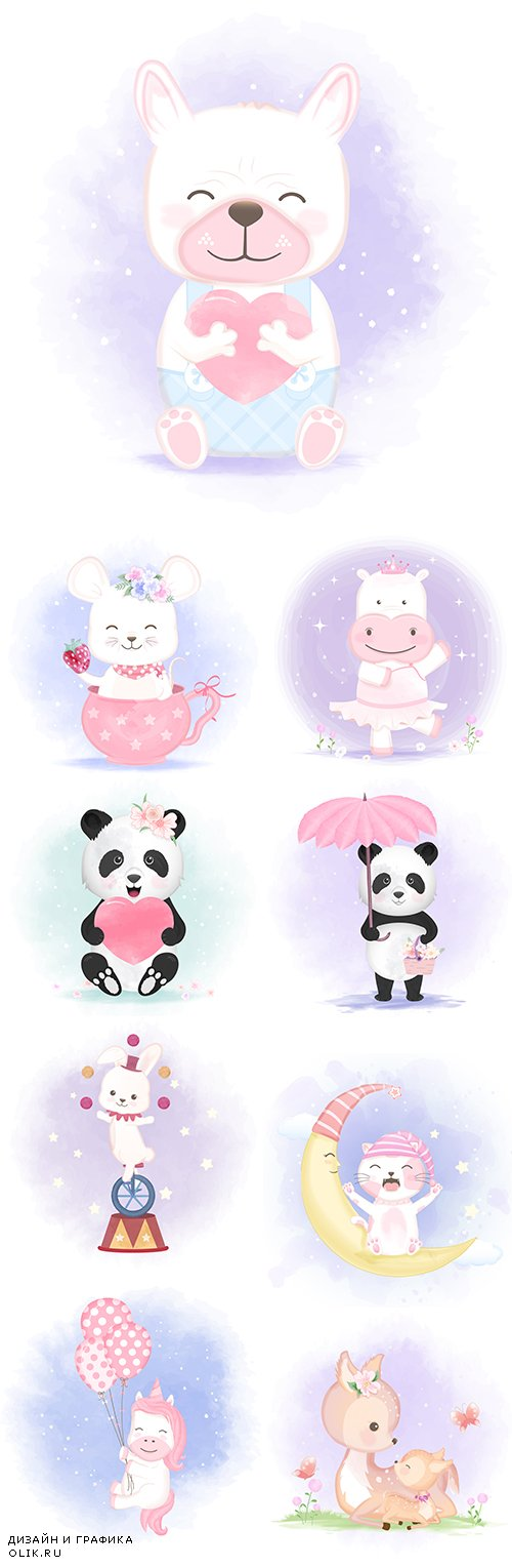 Cute Hand-Draw Baby Animals Illustration Set