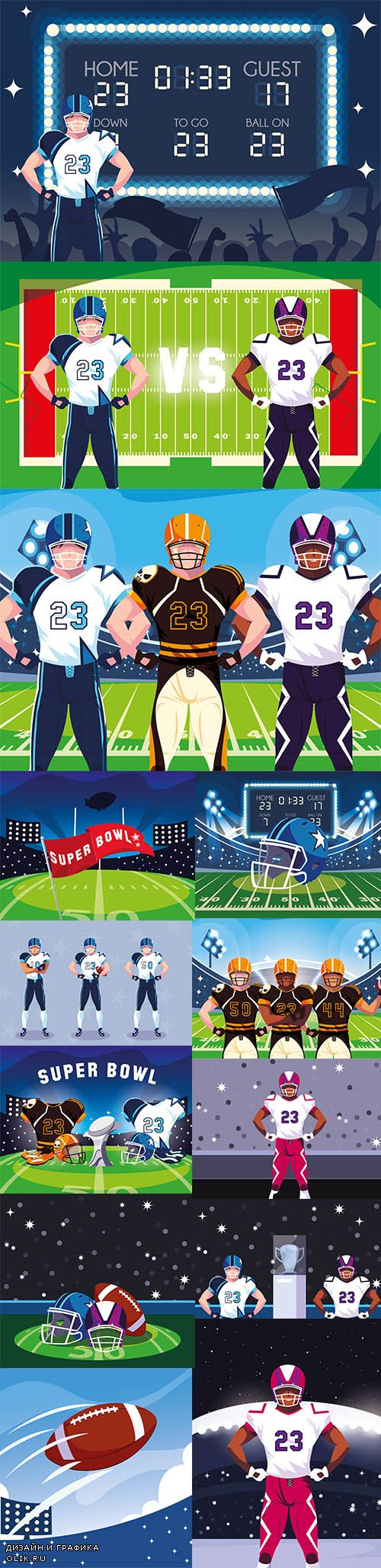 Americal Football Team Players Rugby Sportsmen Illustrations