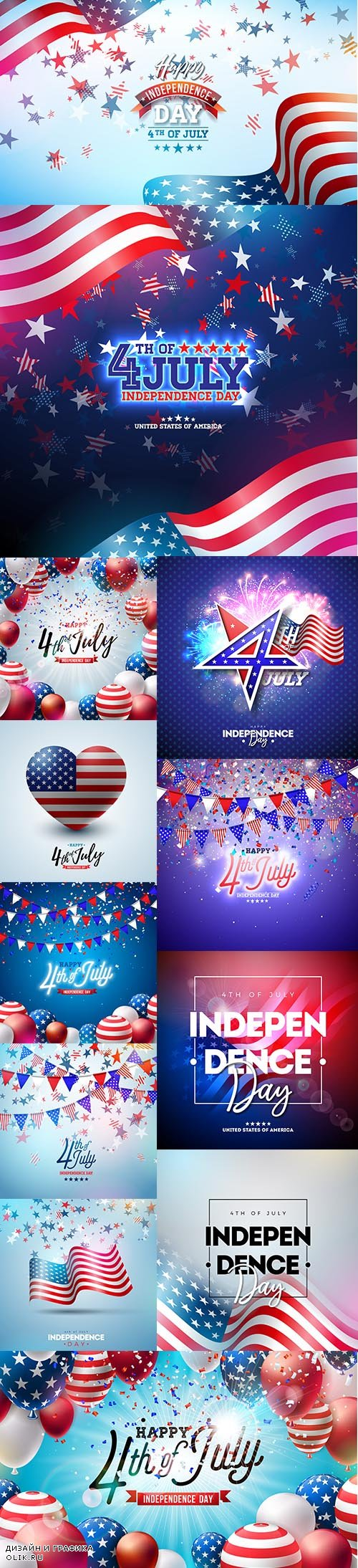 4th July Independence Day USA Premium Illustrations Vector Set