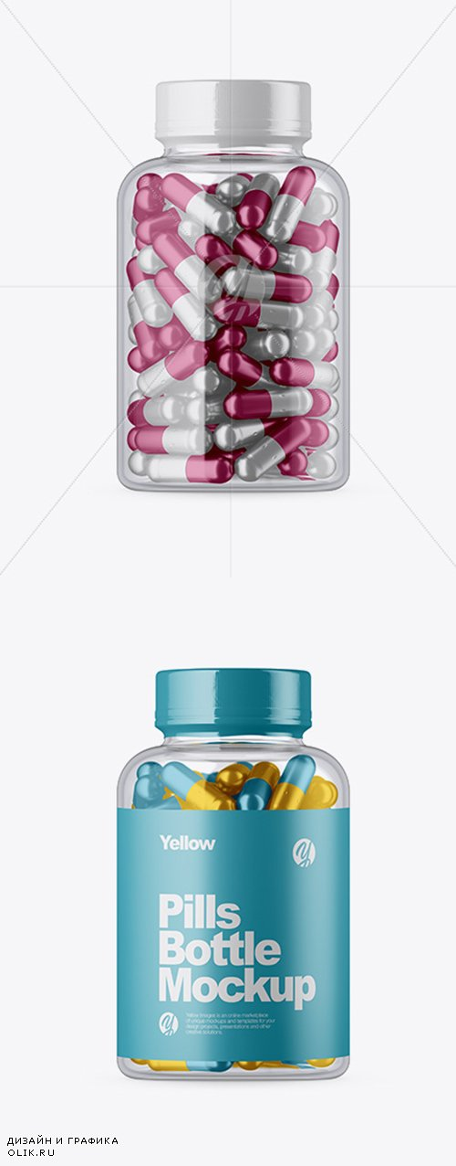 Clear Glass Bottle w/ Metallic Pills Mockup 33337 TIF