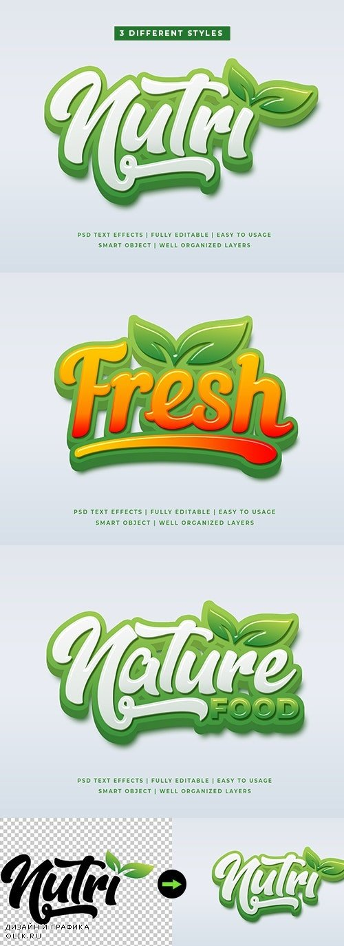 Green Natural 3D Text Style Effects Mockup - 25632927