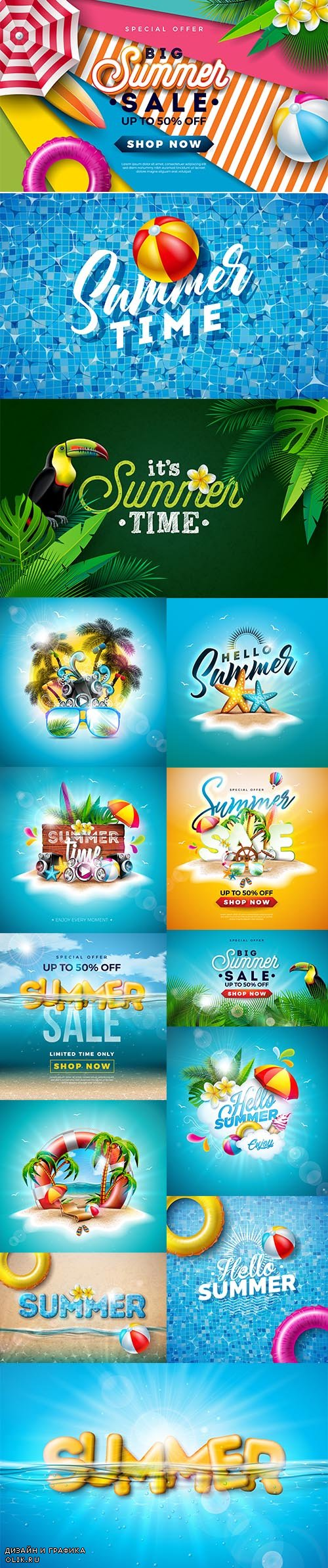 Colorful Summer Sale Banner Template Illustrations Pack