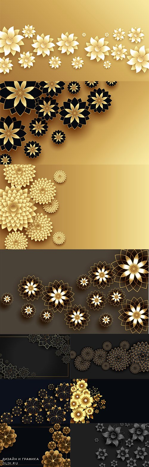 Beautiful 3D Golden Flowers Decorative Background Set