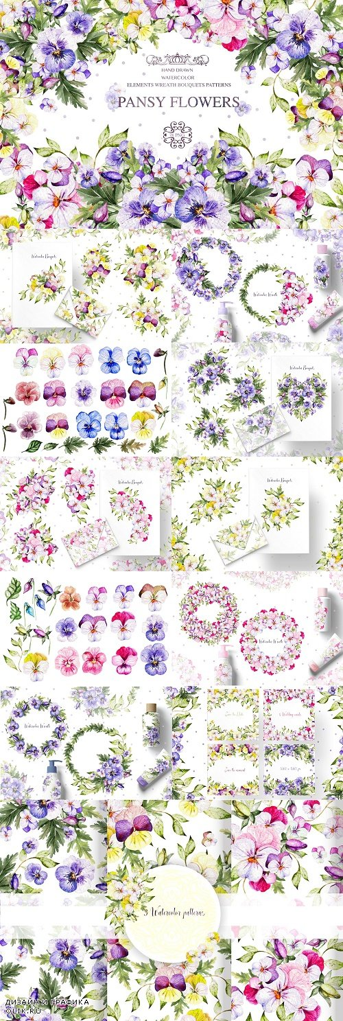 Watercolor PANSY FLOWERS - 4553877