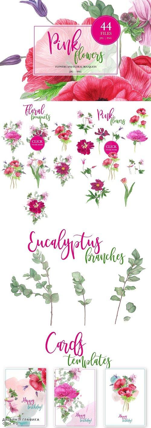 Watercolor Pink flowers - 2678594