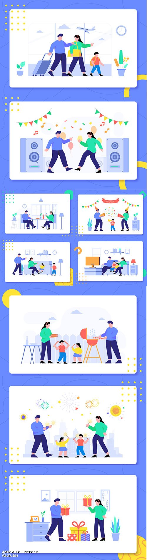Family Activity Together Design Illustration Set