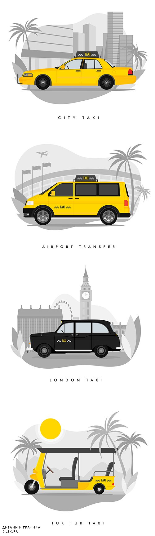 Taxi Services Flat Cartoon Illustrations