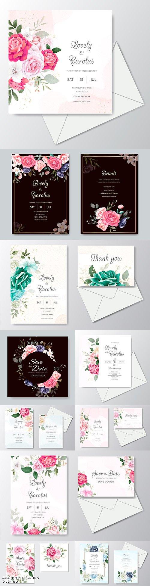 Wedding floral watercolor decorative invitations 20