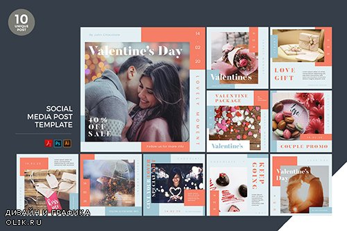 Valentines Day Promo Social Media Kit PSD and AI