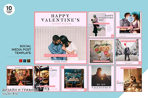 Valentine Date Event Social Media Kit PSD and AI