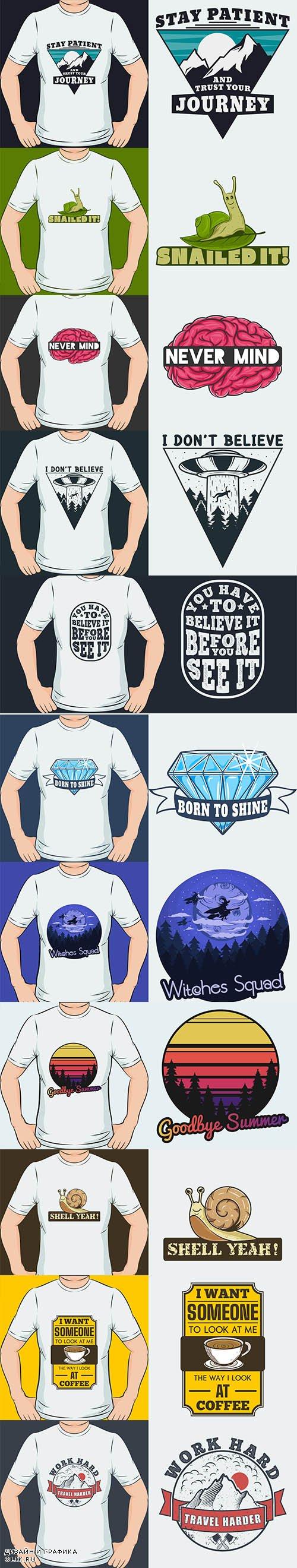 Modern Trendy T-shirt Design Set