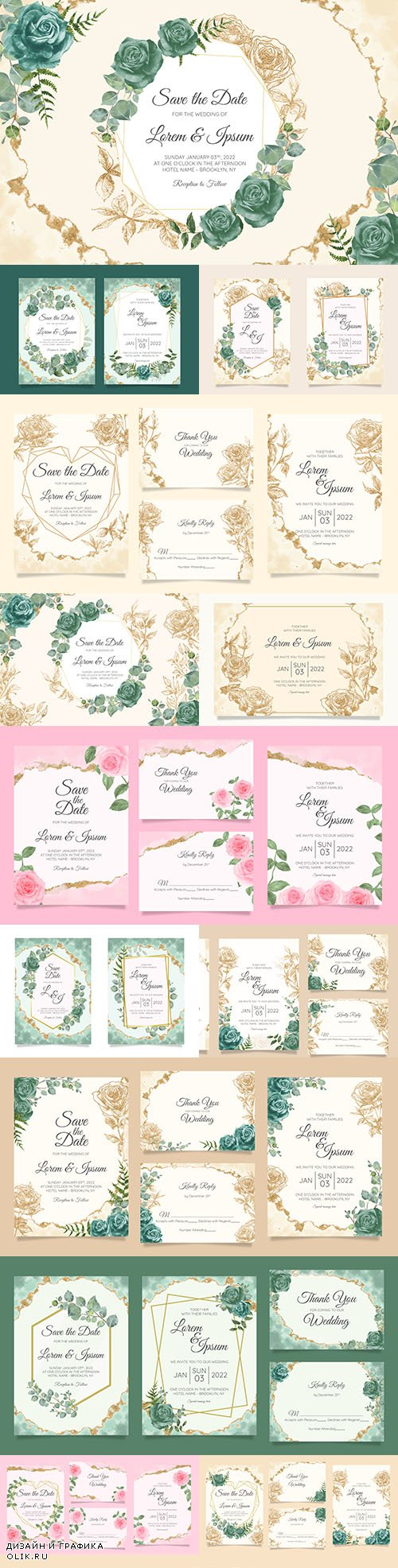 Wedding floral watercolor decorative invitations 21