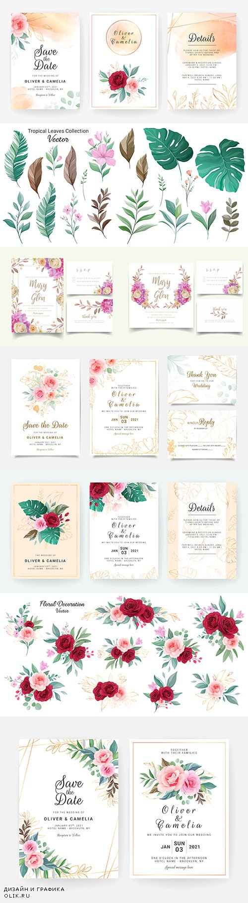 Wedding floral watercolor decorative invitations 22