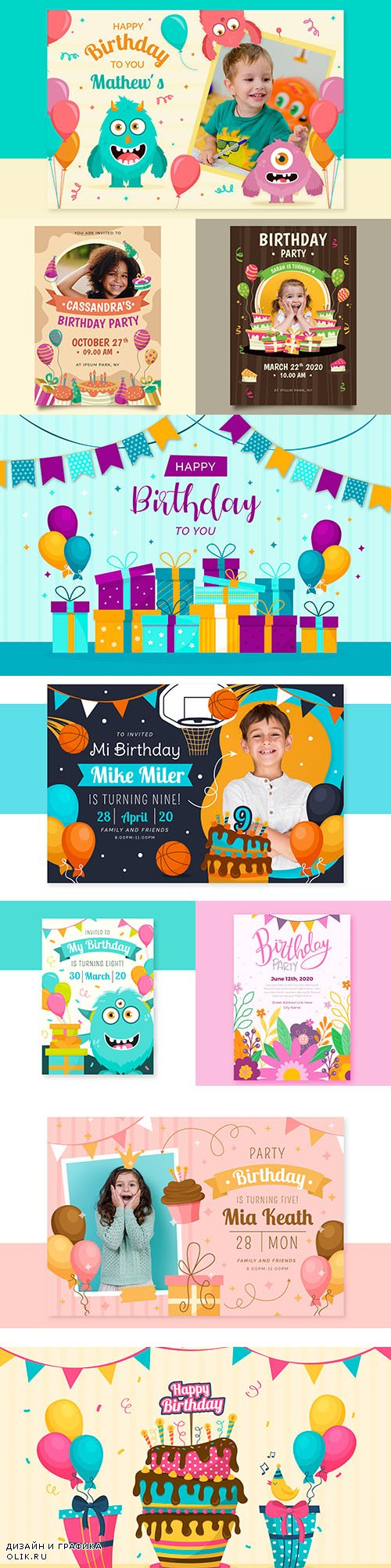 Children 's birthday invitation template with photos