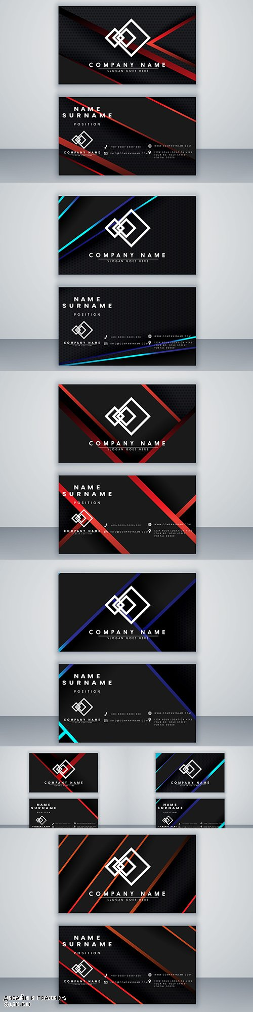 Modern design business card template in dark style