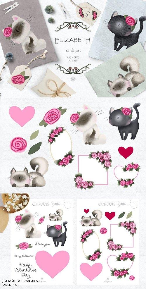 Cute cat clipart - 4496366