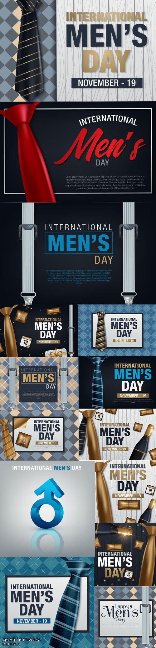 International Mans Day Vector Greeting Card