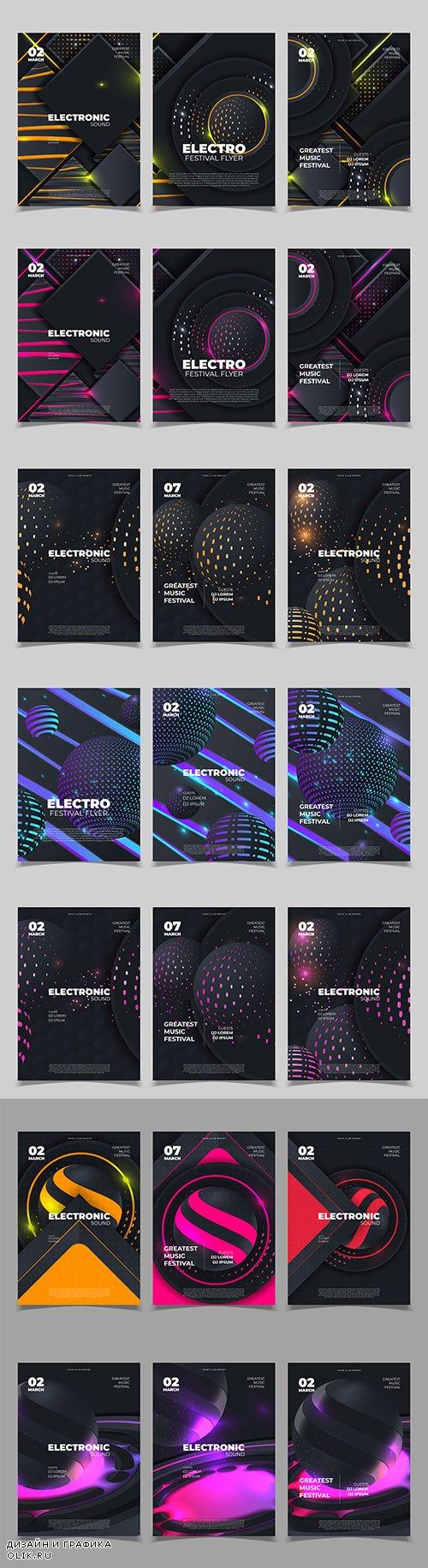 Electronic sound creative music festival design banner