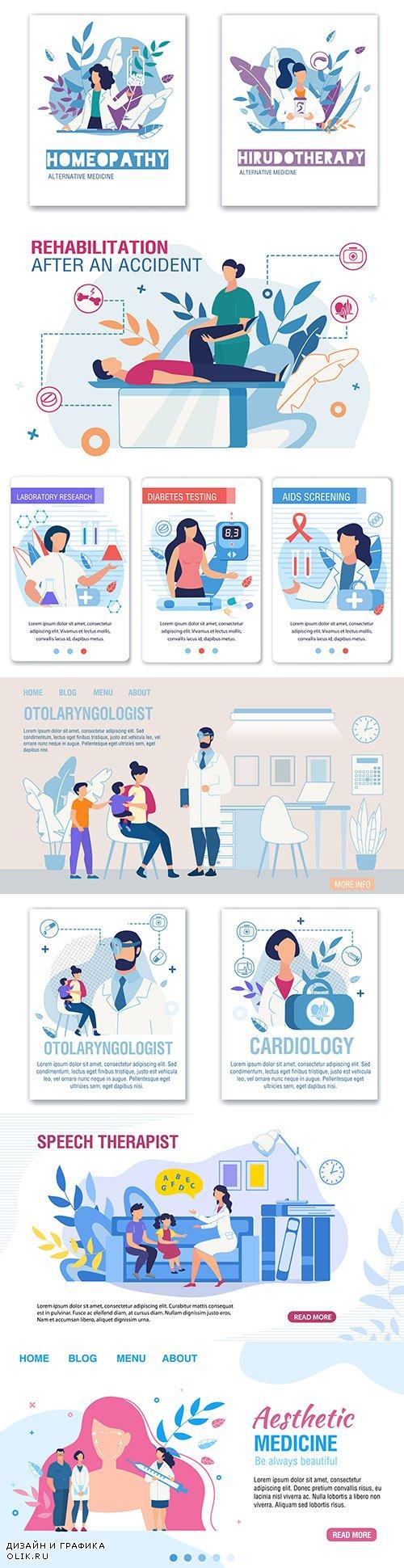 Medicine and equipment isometric icons flat design 14