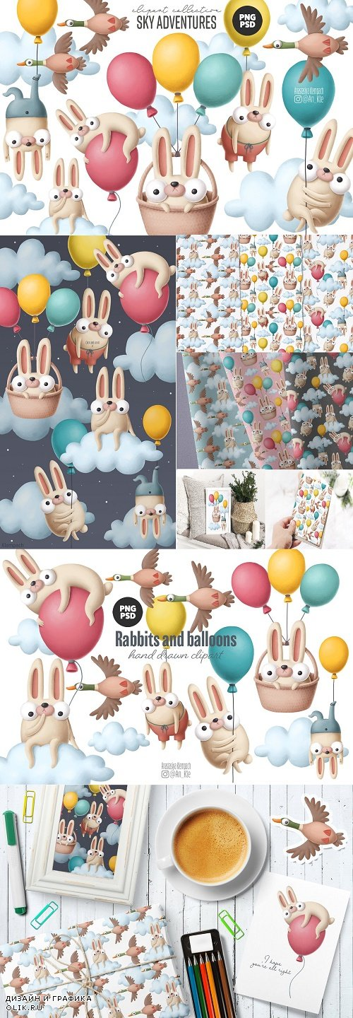 Funny bunnies clipart collection - 4508638