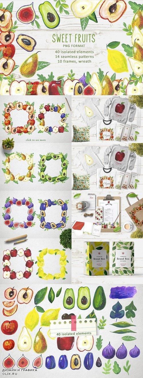 Watercolor sweet Fruits - 4586486