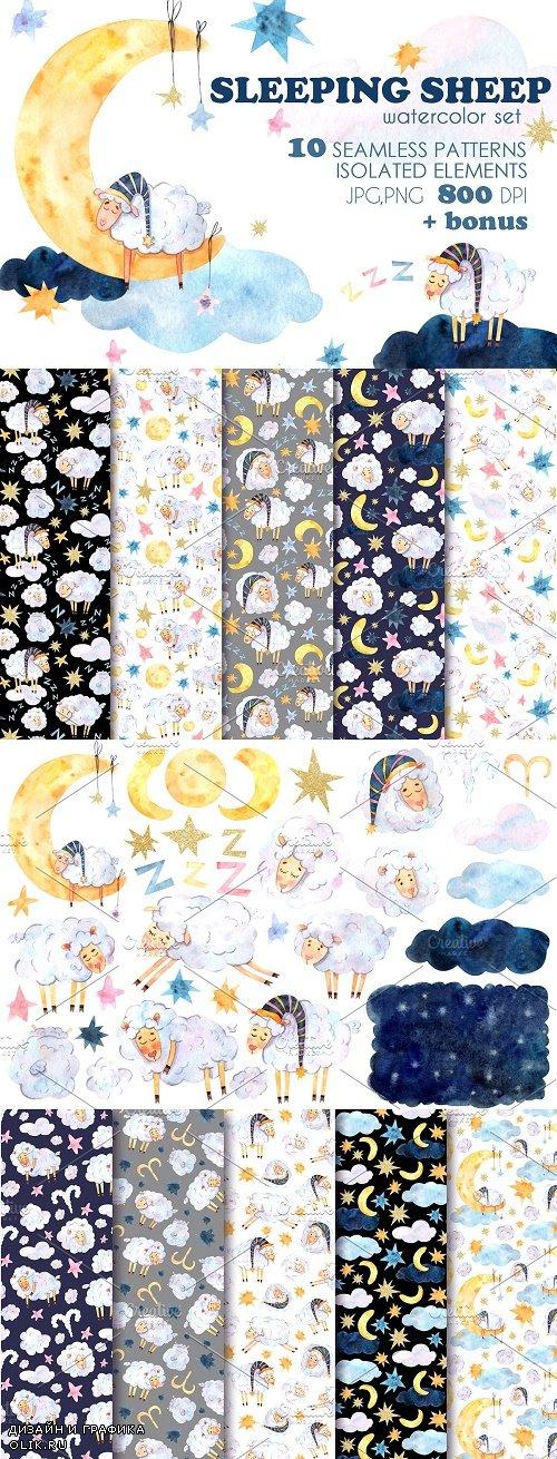 Sleeping Sheep watercolor set - 4582592