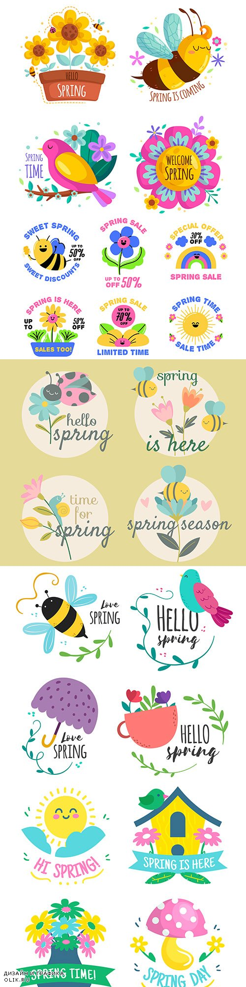 Spring badges and emblems in flat design collection