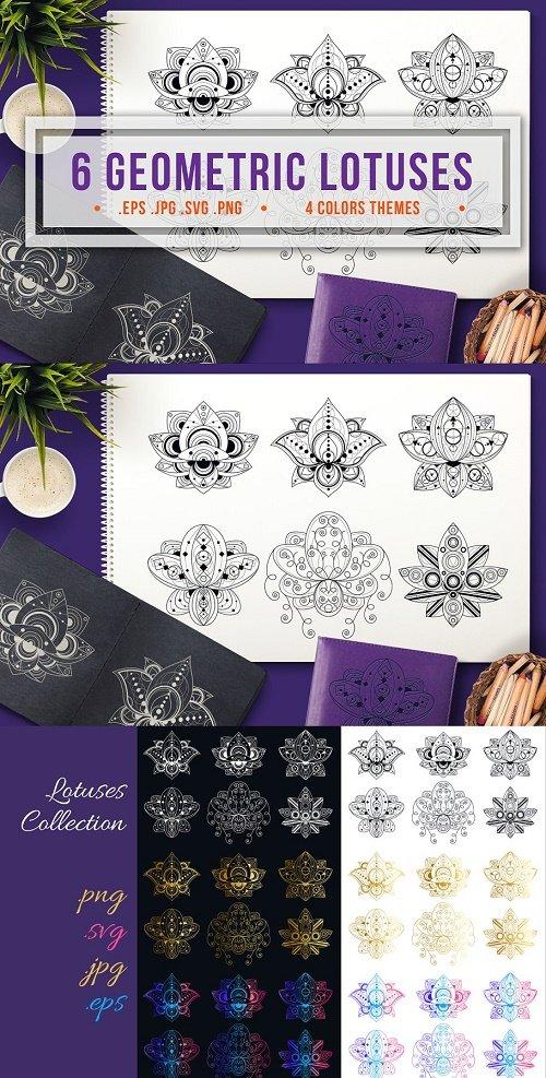 Geometric Lotuses Set - 4288116