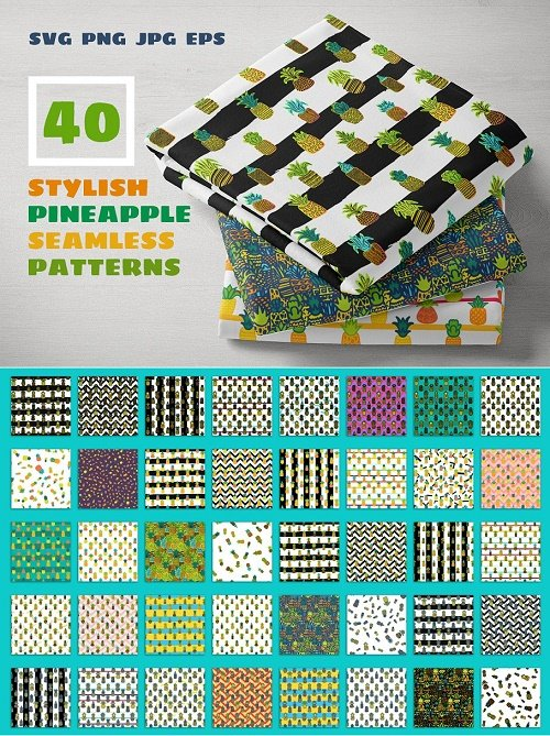 Pineapples Patterns Set - 4276907