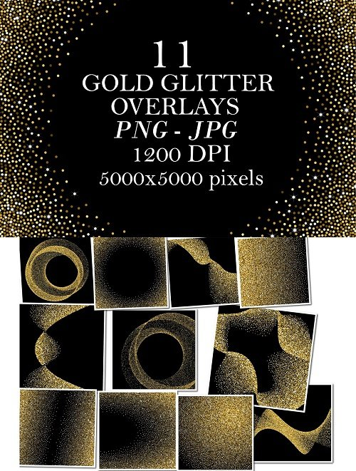 11 Gold Glitter Overlays - 4125763