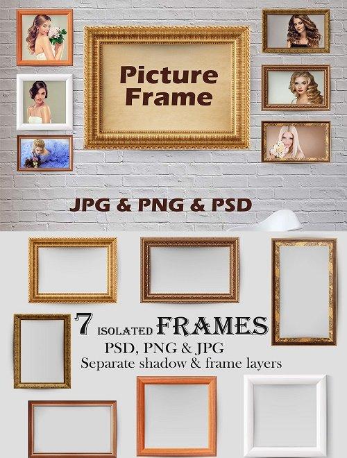 7 Picture Frames, Golden Frame - 4103483