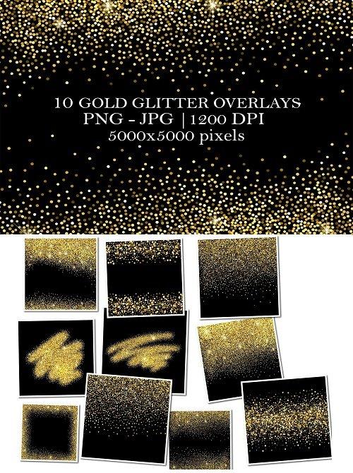 10 Gold Glitter Overlays - 4125727
