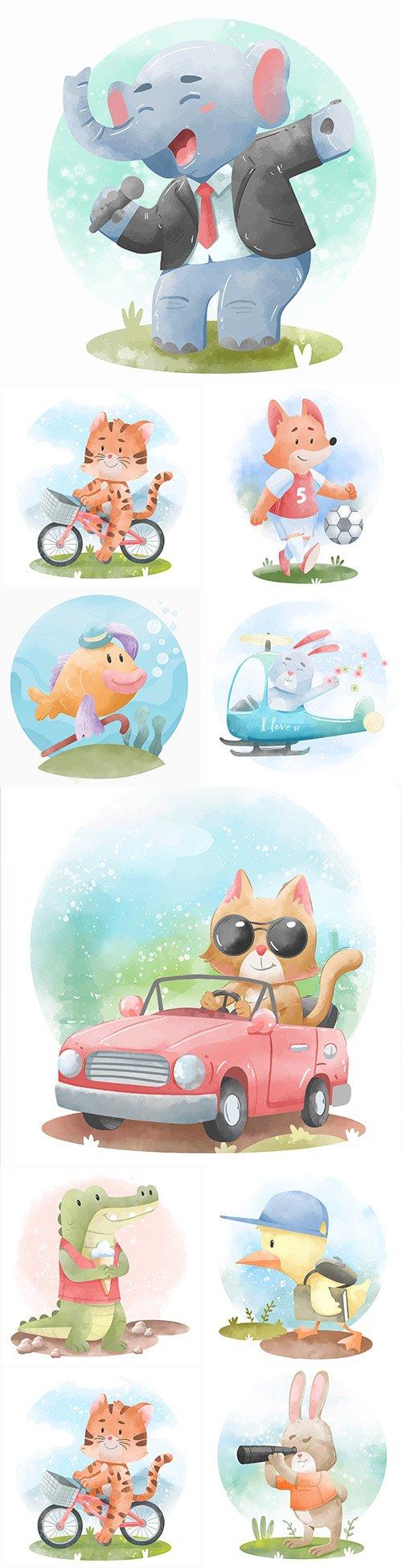 Cute cartoon animals' watercolor illustrations 6