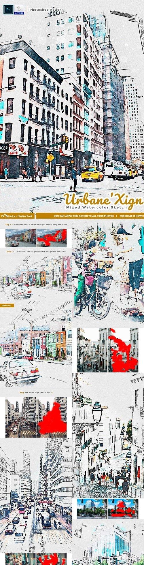 UrbaneXign - Mixed Watercolor Sketch 25571750