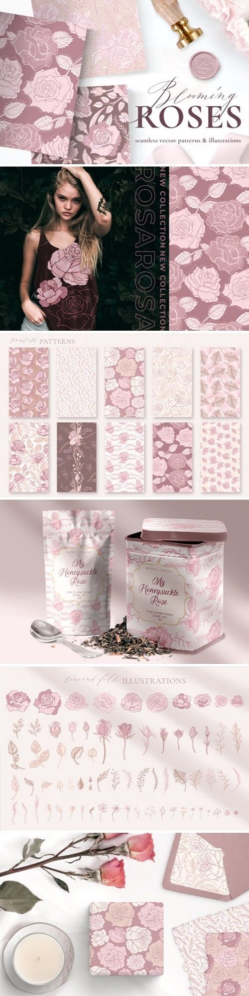 Rose Flower Patterns & Illustrations - 4586765